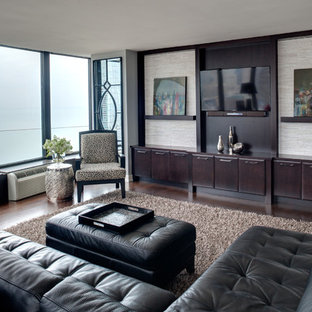 Inspiration For A Contemporary Open Concept Dark Wood Floor Living Room  Remodel In Chicago With No
