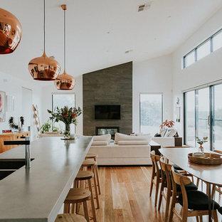 Immagine di un grande soggiorno moderno con pareti bianche, pavimento in legno massello medio, camino sospeso, cornice del camino piastrellata, TV a parete e pavimento marrone