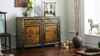 Chinese Sideboard in Ivory with Landscape Paintings