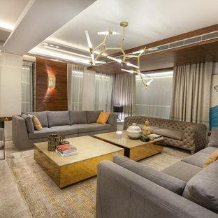 Großes Modernes Wohnzimmer mit Marmorboden in Delhi