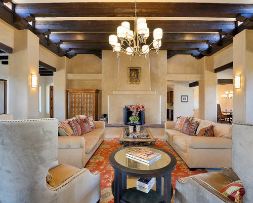 best southwestern living room with beige walls design ideas