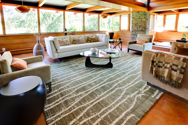 midcentury living room by Genesis Architecture, LLC.