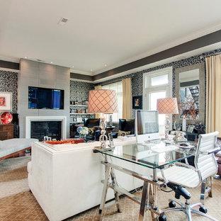 Large Trendy Open Concept Medium Tone Wood Floor Living Room Photo In Philadelphia With Gray Walls