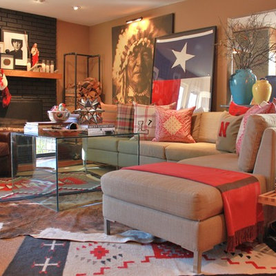 Eclectic living room photo in Dallas with a standard fireplace and a brick fireplace