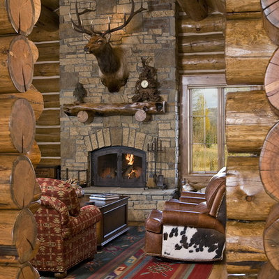 Living room - rustic living room idea in Other with a standard fireplace, a stone fireplace and no tv
