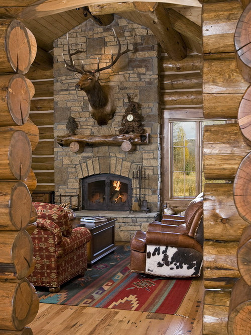 Rustic Living Room Idea In Other With A Standard Fireplace Stone And No