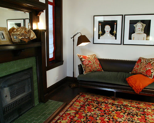 example of a classic living room design in chicago with a tile fireplace