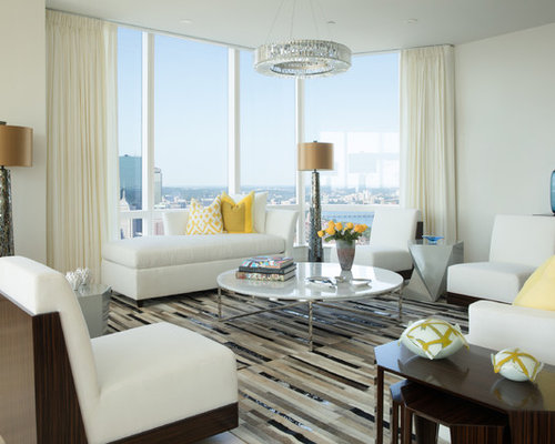 Example Of A Trendy Formal Living Room Design In Boston With White Walls
