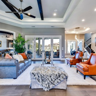Living Room Eclectic Formal And Open Concept Beige Floor Idea In Austin With