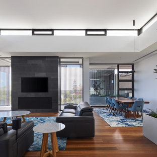Photo of a large contemporary living room in Perth.