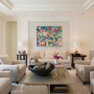 Example of a large classic open concept living room design in DC Metro with white walls and no fireplace