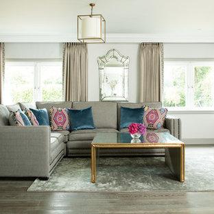 Foto de salón ecléctico, de tamaño medio, con paredes grises, suelo de madera en tonos medios, chimenea tradicional, marco de chimenea de piedra y televisor colgado en la pared