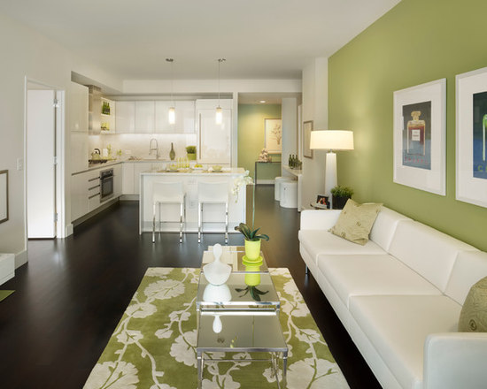 Green Accent Wall Living Room Contemporary With Side Table