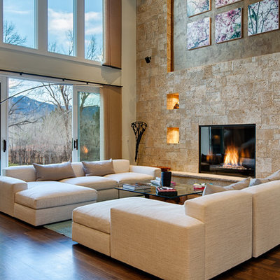 Mid-sized trendy open concept and formal dark wood floor living room photo in Denver with beige walls, a standard fireplace, a tile fireplace and no tv
