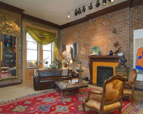 Exposed Brick Fireplace Houzz