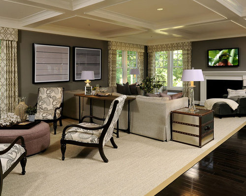 Transitional Open Concept Living Room Photo In DC Metro With Gray Walls And A Standard Fireplace