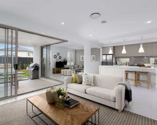 Design Ideas For A Contemporary Living Room In Brisbane.
