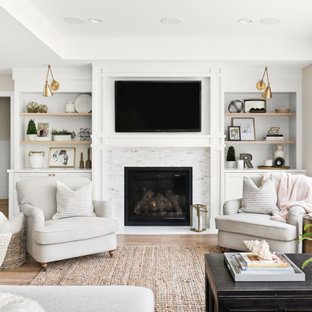 Living room - mid-sized transitional open concept medium tone wood floor and brown floor living room idea in San Francisco with gray walls, a standard fireplace, a stone fireplace and a wall-mounted tv