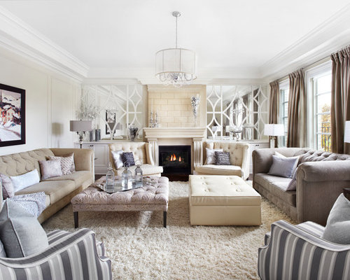 Inspiration For A Mid Sized Transitional Enclosed And Formal Carpeted And  White Floor Living Room