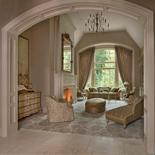 Inspiration for a mid-sized traditional formal enclosed living room in Detroit with a standard fireplace, no tv, beige walls, ceramic floors and a plaster fireplace surround.