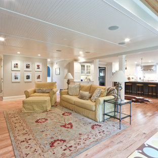 Example of a large classic open concept living room design in Newark