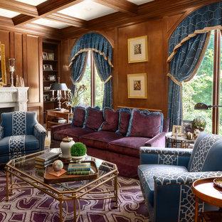 Immagine di un grande soggiorno chic chiuso con sala formale, pareti marroni, moquette, camino classico, cornice del camino in pietra, nessuna TV e pavimento viola