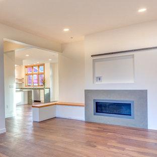 Esempio di un soggiorno minimalista di medie dimensioni e aperto con pareti bianche, pavimento in legno massello medio, camino lineare Ribbon, cornice del camino piastrellata, TV a parete e sala formale
