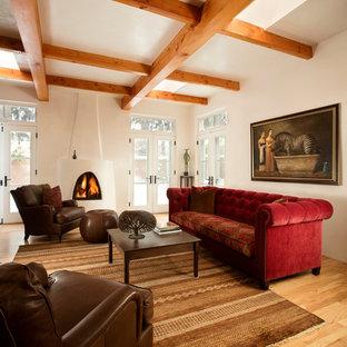 アルバカーキの中サイズのサンタフェスタイルのおしゃれな独立型リビング (白い壁、淡色無垢フローリング、標準型暖炉、漆喰の暖炉まわり、壁掛け型テレビ) の写真