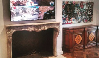 Classic country style TV installation over fireplace