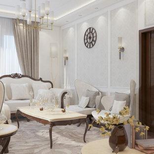 バンクーバーの中くらいの地中海スタイルのおしゃれな独立型リビング (フォーマル、ベージュの壁、合板フローリング、暖炉なし、テレビなし、茶色い床、折り上げ天井、壁紙) の写真