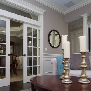 Example of a mid-sized classic formal dark wood floor living room design in Chicago with gray walls