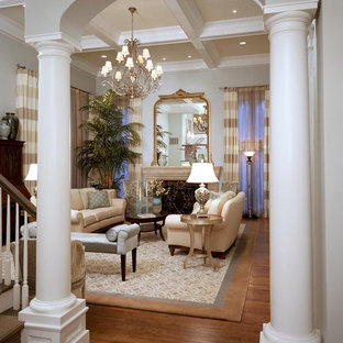 Elegant living room photo in Raleigh