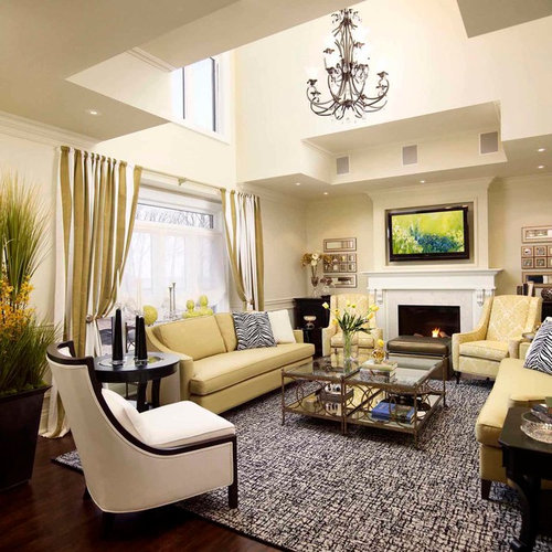Example Of A Mid Sized Classic Open Concept And Formal Dark Wood Floor Living  Room Part 64