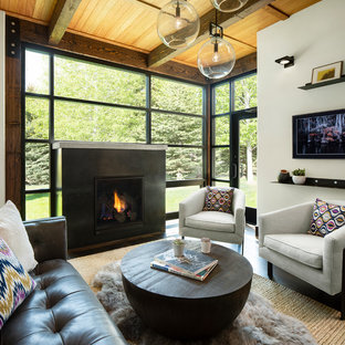 Inspiration For A Contemporary Formal Dark Wood Floor Living Room Remodel  In Denver With White Walls