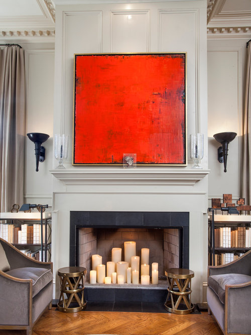 Candles In Fireplace Houzz