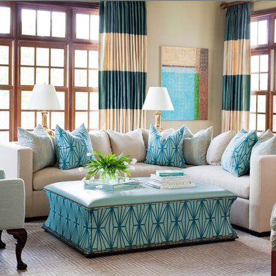 Example of a large classic open concept carpeted living room design in Little Rock with beige walls