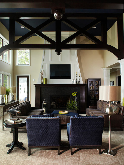 navy blue furniture living room. Example of a classic carpeted living room design in Grand Rapids with beige  walls Navy Blue Furniture Houzz