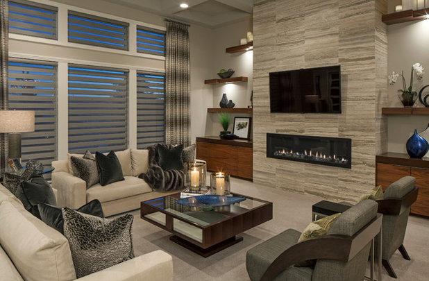コンテンポラリー リビング by Interiors Joan and Associates