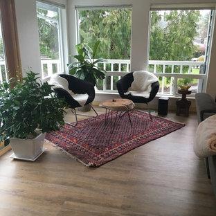 Living room - contemporary vinyl floor living room idea in San Diego
