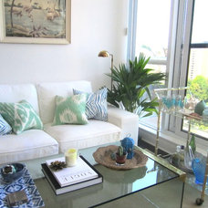 Tropical Living Room by Laura Collins Design