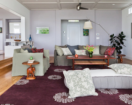 Inspiration For A Contemporary Living Room Remodel In Los Angeles With Gray  Walls