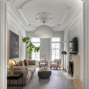 Inspiration for a transitional living room remodel in New York