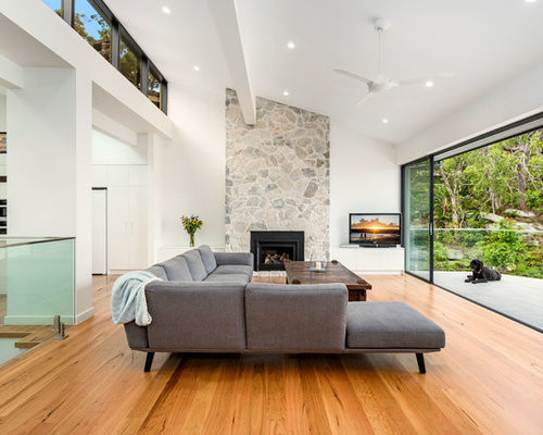 Large Contemporary Formal Open Concept Living Room In Sydney With White  Walls, Medium Hardwood Floors