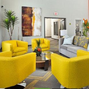 フェニックスの中サイズのおしゃれなLDK (グレーの壁、カーペット敷き、グレーの床、フォーマル、標準型暖炉、漆喰の暖炉まわり、壁掛け型テレビ) の写真