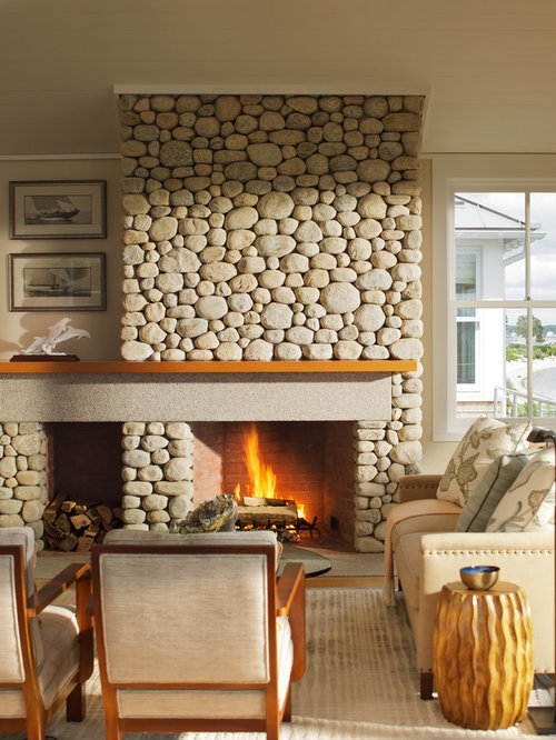 Best River Rock Fireplace Design Ideas Amp Remodel Pictures