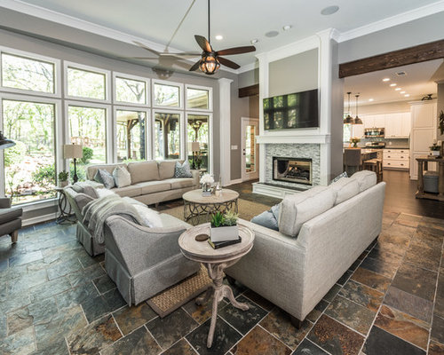 Living Room Ideas & Photos with Slate Flooring and Grey Walls