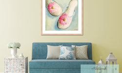Coastal Beach Style Living Room with Chic Wall Art