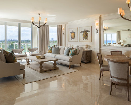 Beach Style Open Concept Marble Floor And Beige Living Room Idea In Miami With White