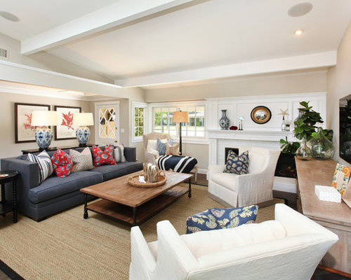 Example Of A Coastal Living Room Design In Orange County With Beige Walls And Wall