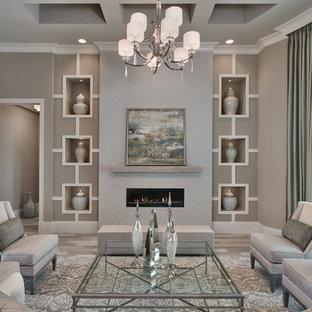 Esempio di un soggiorno classico con pareti grigie, sala formale e camino lineare Ribbon